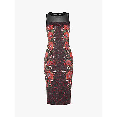 Karen Millen Bodycon Floral Leopard Print Dress, Black/Multi