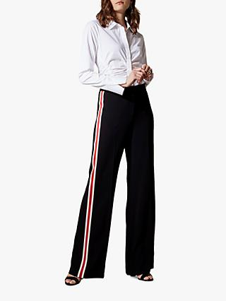 Karen Millen Sporty Wide Leg Trousers, Black