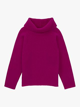 Jigsaw Girls' Ribbed Wool Jumper, Deep Fuchsia