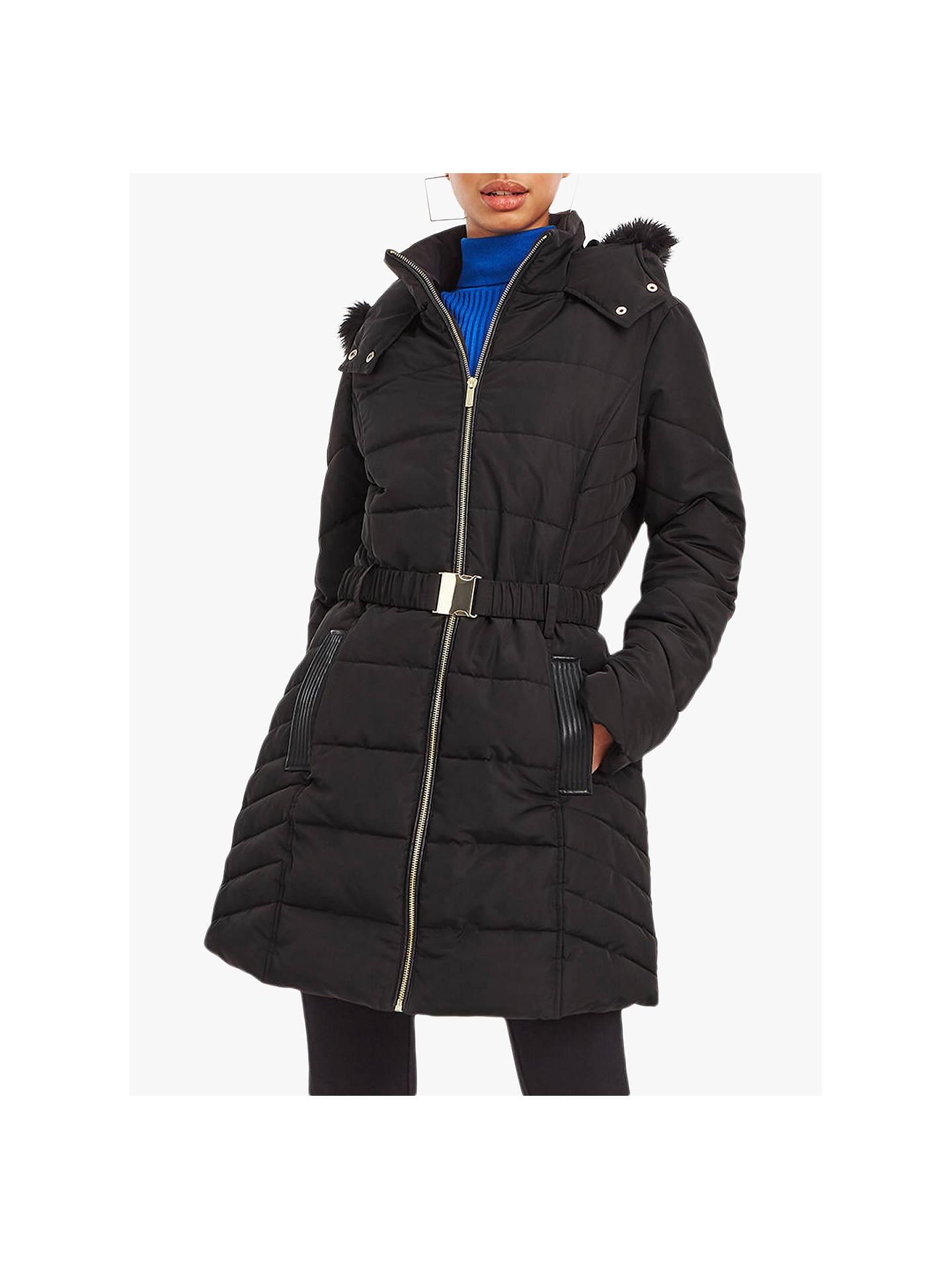 good reputation factory outlets exquisite design Oasis Hastings Faux Fur Belted Padded Coat, Black at John ...
