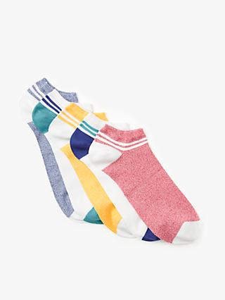 John Lewis & Partners Striped Cuffs Trainer Socks, Pack of 5, Multi