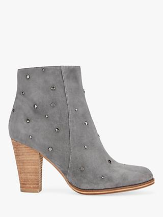 Mint Velvet Miller Stud Heeled Ankle Boots, Dark Grey