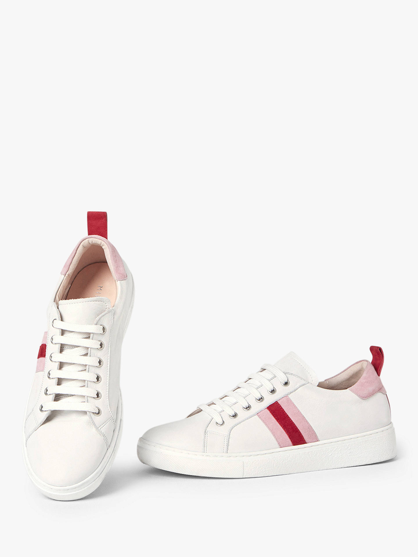 Buy Mint Velvet Allie Striped Lace Up Trainers, White/ Pink Leather, 3 Online at johnlewis.com
