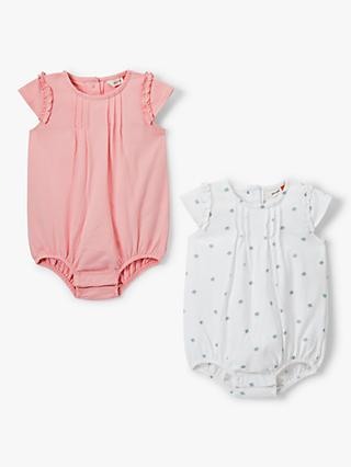 7556e0d73 John Lewis & Partners Baby GOTS Organic Cotton Frill Sleeve Bodysuit, Pack  of 2,