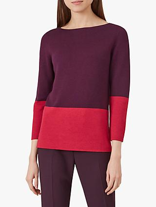 Hobbs Cesci Colour Block Jumper, Red/Burgundy