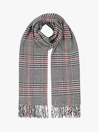Hobbs Amelia Check Scarf, Ivory/Back/Red