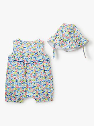 794390ccf John Lewis & Partners Baby GOTS Organic Cotton Floral Romper and Hat Set,  Multi