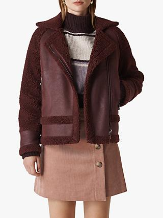 Whistles Borg Biker Jacket, Burgundy