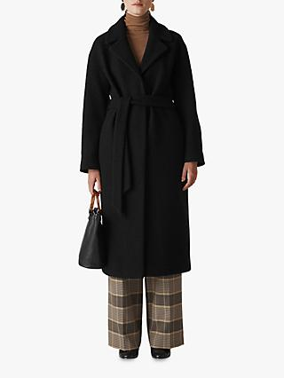 Whistles Boiled Wool Coat, Black