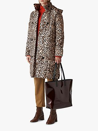 Whistles Animal Print Longline Puffer Coat, Leopard Print