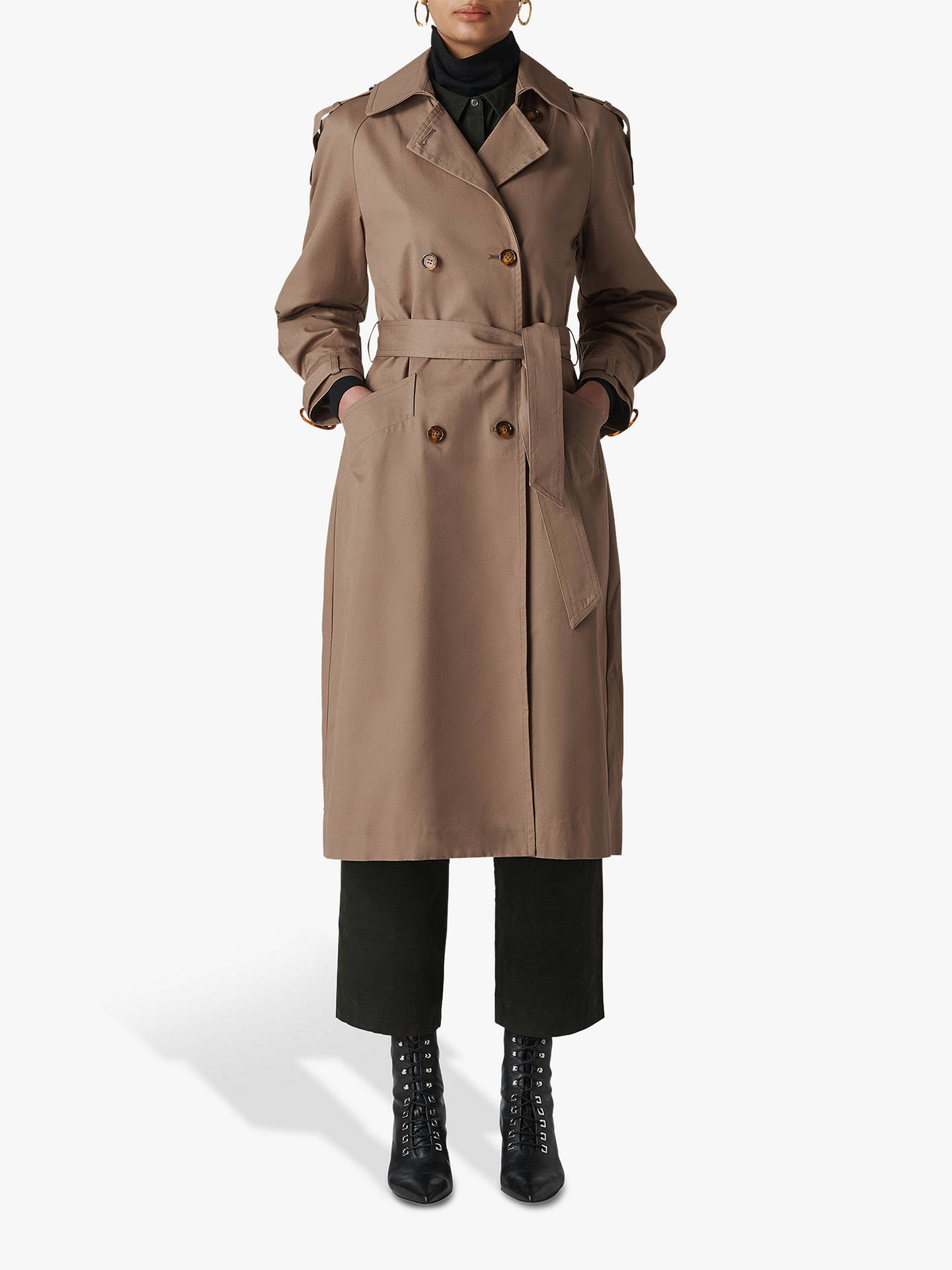Buy Whistles Imra Balloon Sleeve Trench Coat, Beige, 6 Online at johnlewis.com