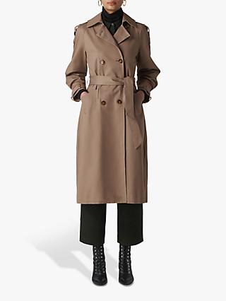 Whistles Imra Balloon Sleeve Trench Coat, Beige