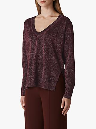 Whistles V-Neck Sparkle Knit Jumper, Pink