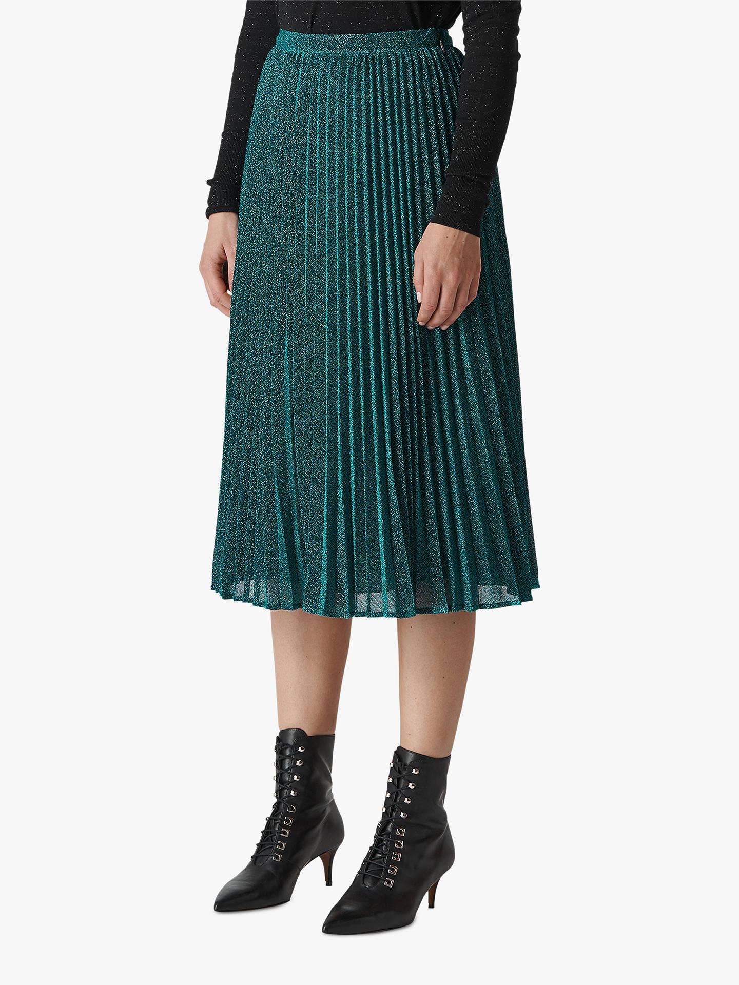 e78ef22da Buy Whistles Sparkle Pleated Skirt, Green, 6 Online at johnlewis.com ...