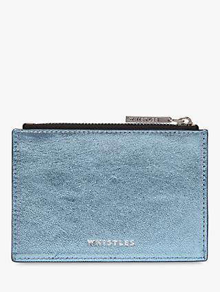 Whistles Metallic Leather Coin Purse, Blue