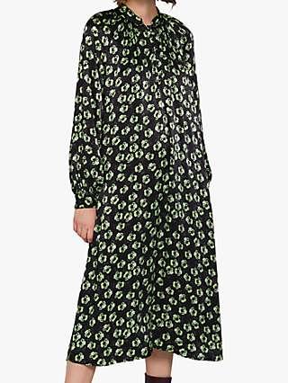 Ghost Hazel Satin Dress, Emer Pansies