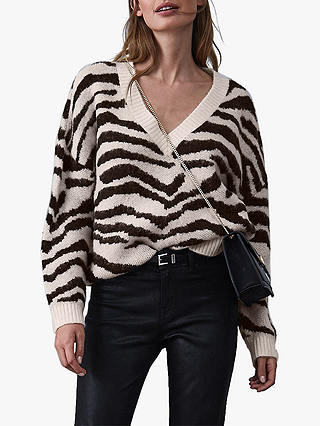 Buy Reiss Zana Jacquard Knitted Jumper, Monochrome, XS Online at johnlewis.com