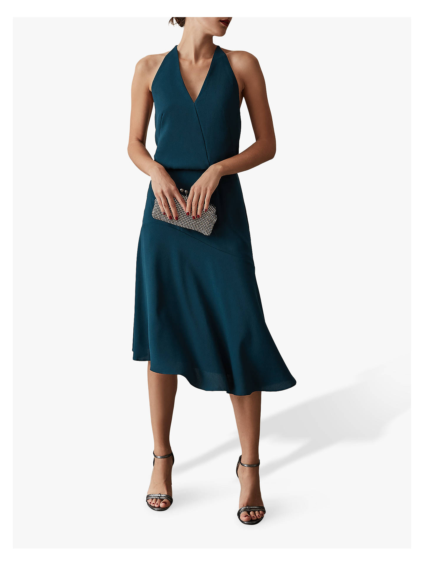 Buy Reiss Fiona Beaded Strap Midi Dress, Teal, 14 Online at johnlewis.com