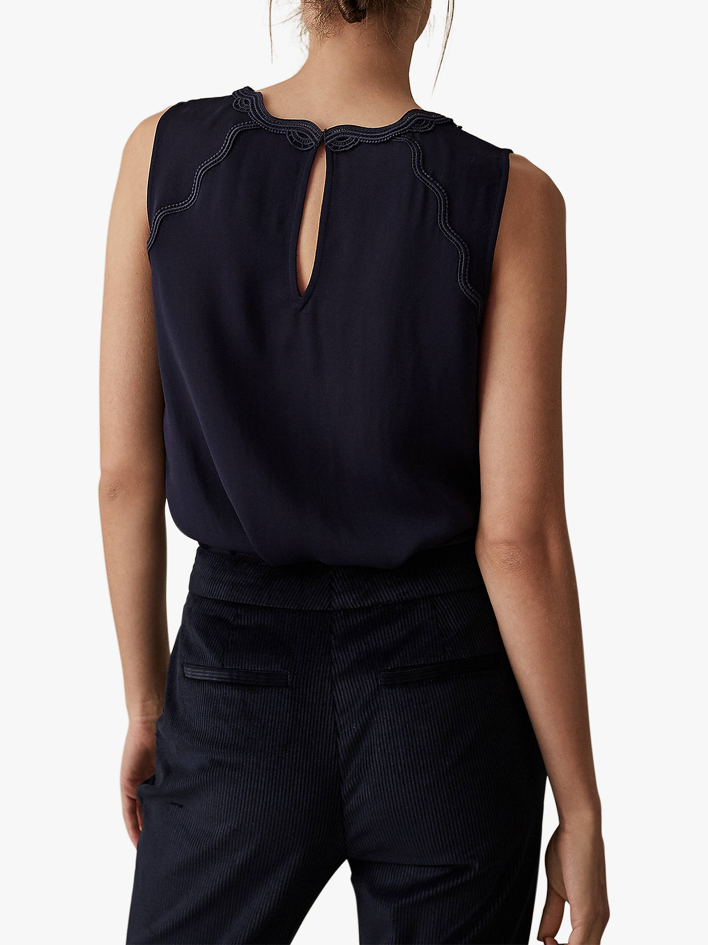 BuyReiss Helenia Scallop Neck Top, Navy, 6 Online at johnlewis.com