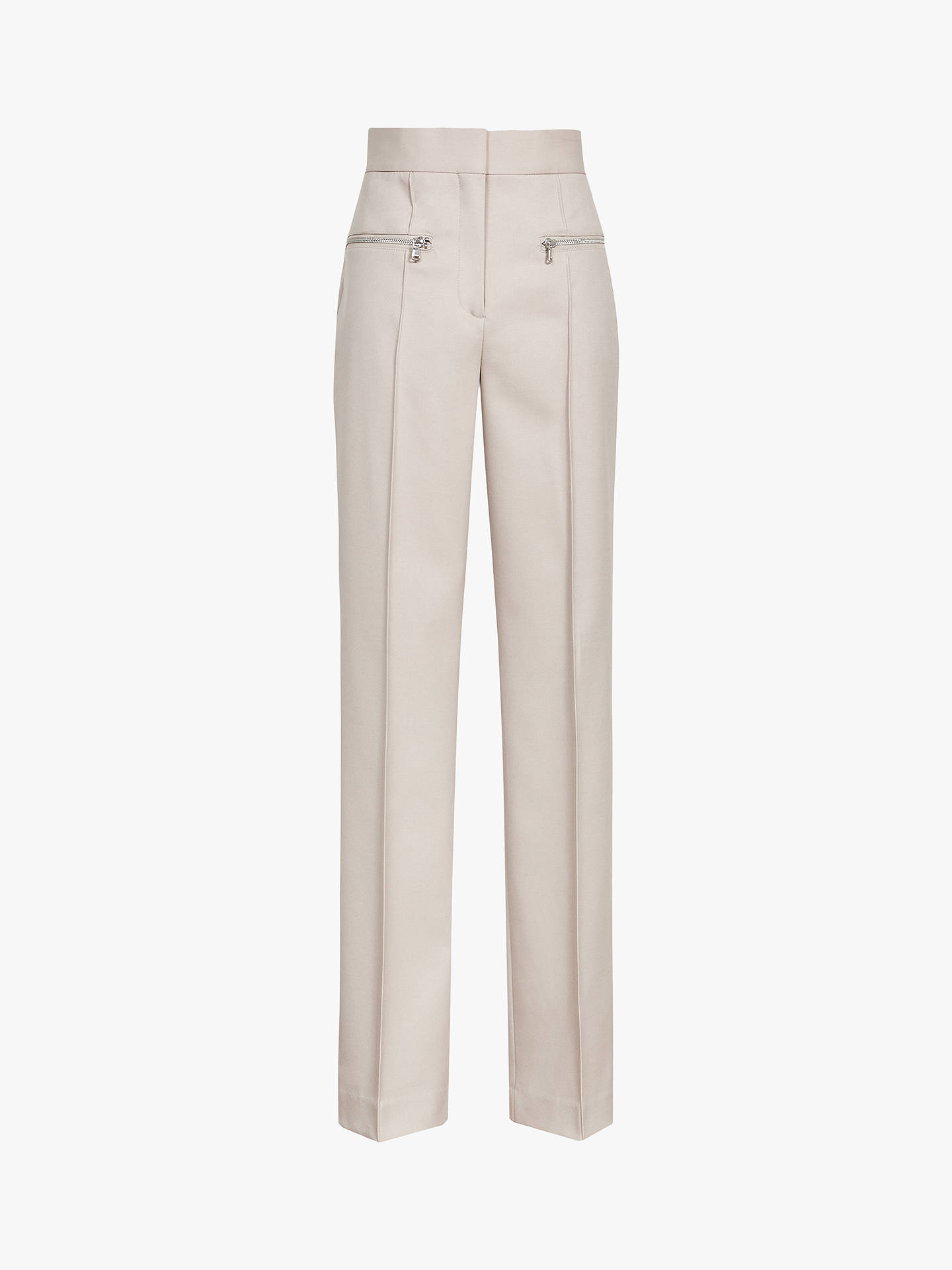 Buy Reiss Miller Zip Detail Wide Leg Trousers, Stone, 6 Online at johnlewis.com