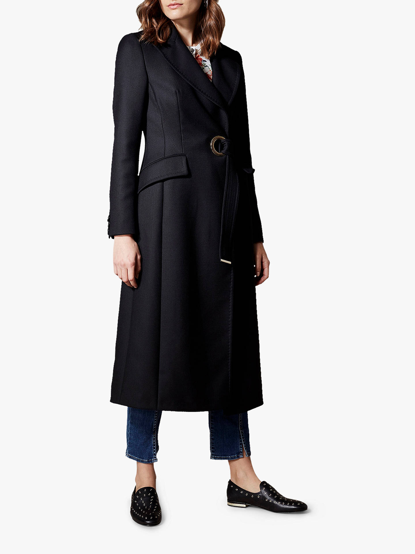 promo code attractive & durable bright in luster Karen Millen Tailored Wrap Coat, Black at John Lewis & Partners