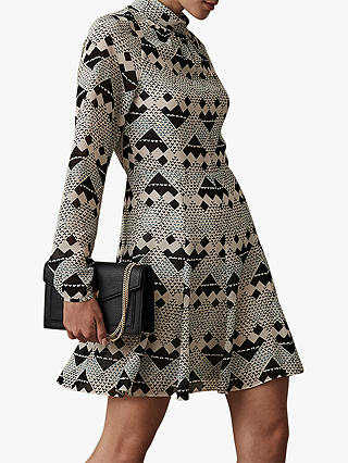 Buy Reiss Ardelle Geometric Heart Print Dress, Multi, 10 Online at johnlewis.com
