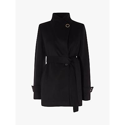 Karen Millen Wrap Waist Coat, Black