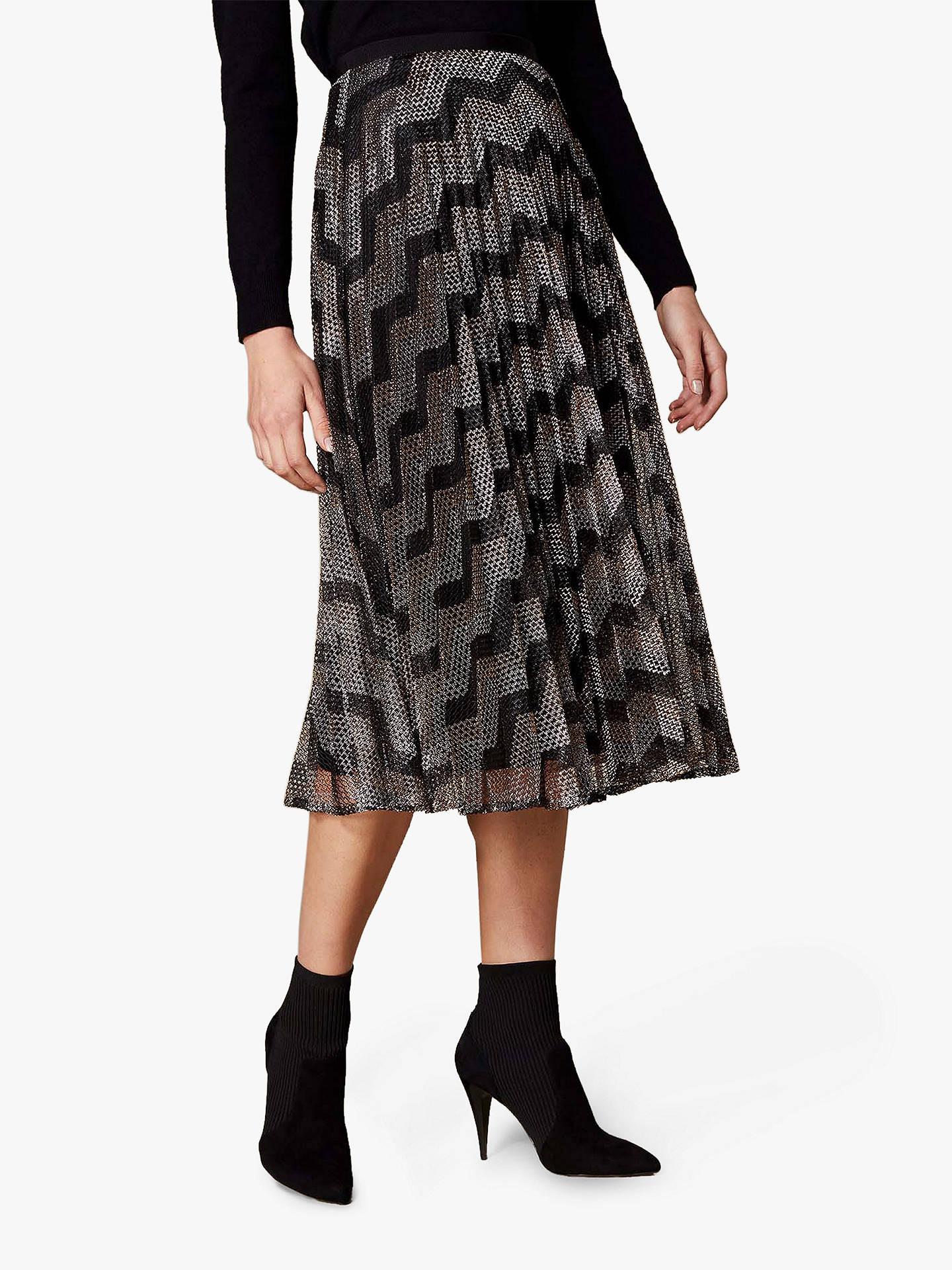 366cbda942b1c9 Buy Karen Millen Metallic Chevron Skirt, Multicolour, 12 Online at  johnlewis.com ...