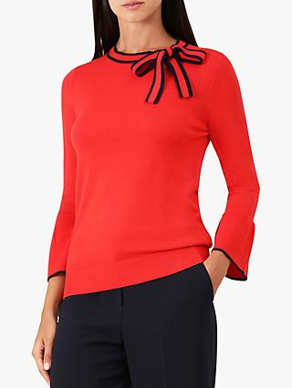 Hobbs Jess Bow Tie Jumper, Red/Navy