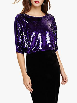 Phase Eight Alessa Sequin Panel Knit Top, Purple