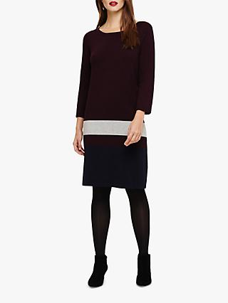 Phase Eight Celine Colour Block Knit Dress, Port/Multi