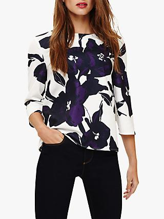 Phase Eight Matilda Floral Print Blouse, Purple