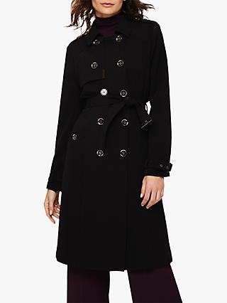 Phase Eight Charlie Crepe Trench Coat, Black