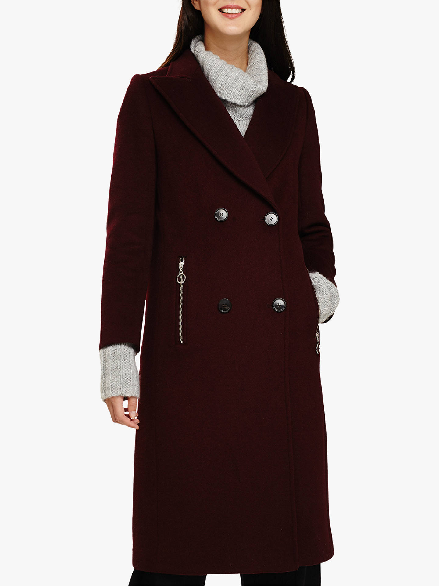 Buy Phase Eight Connie Wool Blend Coat, Port, 8 Online at johnlewis.com