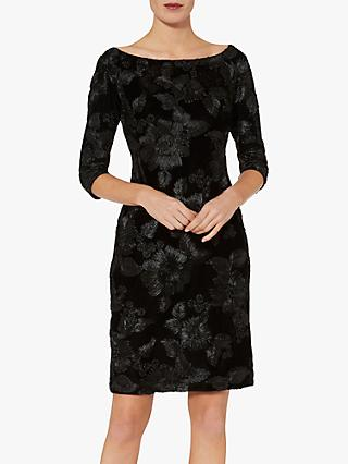 Gina Bacconi Carina Floral Velvet Dress, Black