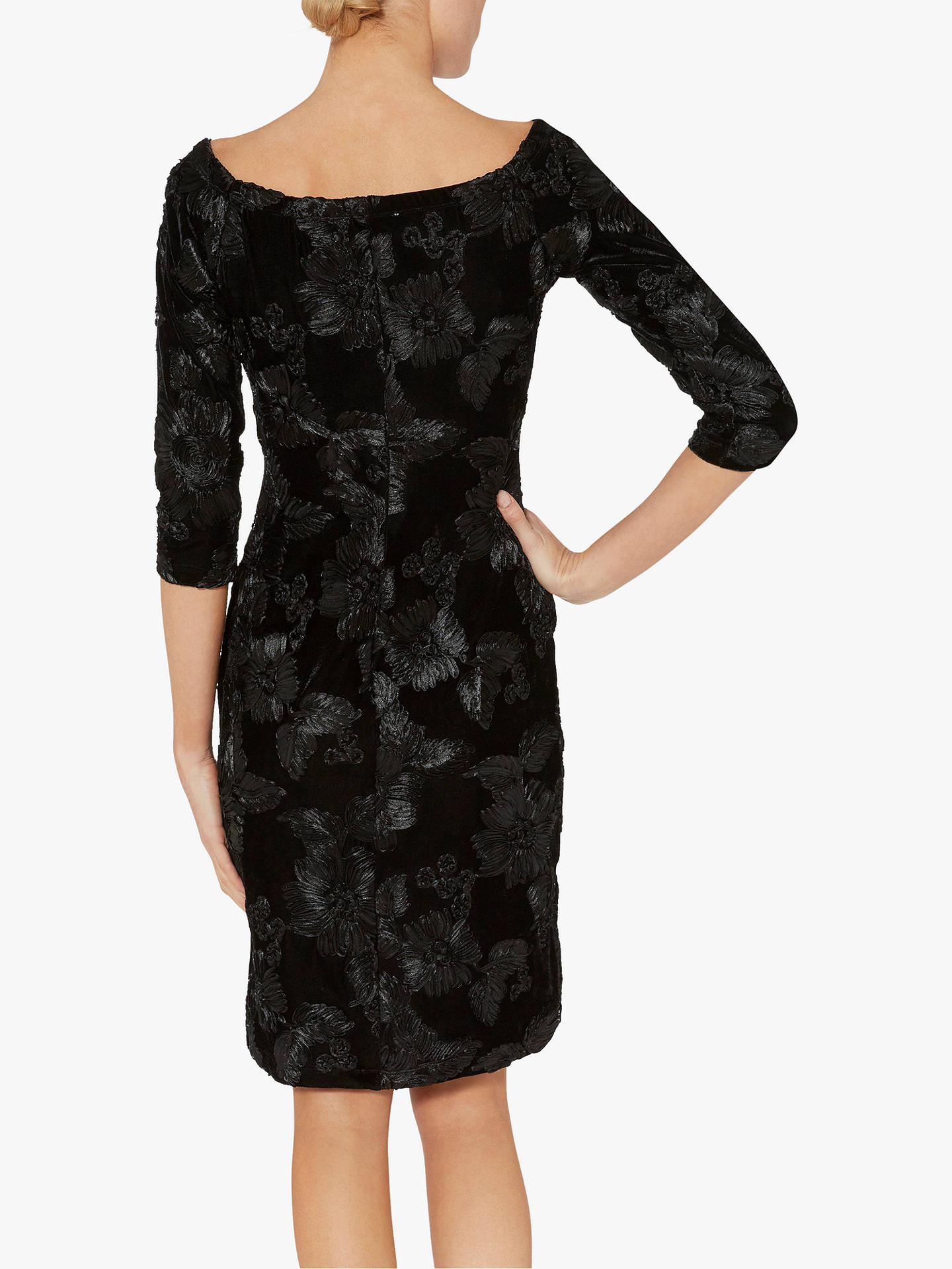 Buy Gina Bacconi Carina Floral Velvet Dress, Black, 14 Online at johnlewis.com