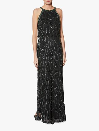 Gina Bacconi Beaded Maxi Dress, Black/Green