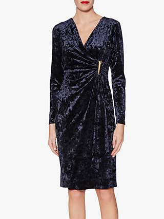 Gina Bacconi Arabella Velvet Wrap Midi Dress