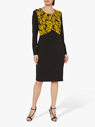 Gina Bacconi Meena Crepe Print Dress, Yellow