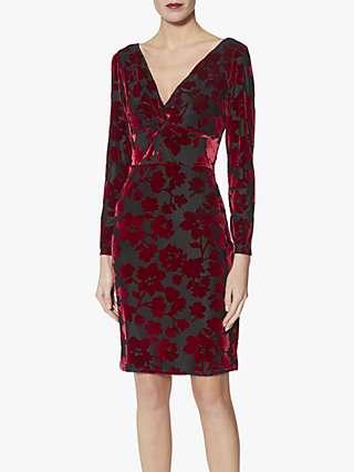 Gina Bacconi Fatima Velvet Knot Front Dress, Black/Red
