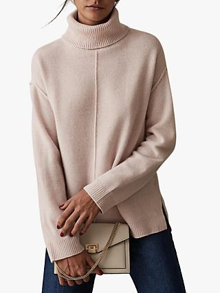 Reiss Cleo Wool Cashmere Blend Roll Neck Jumper, Soft Pink