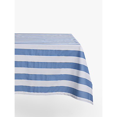 John Lewis & Partners Coastal Wipeable Striped Tablecloth, Blue/White