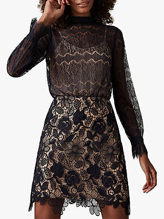 Buy Reiss Elie Lace Mix Dress, Navy/Nude, 14 Online at johnlewis.com