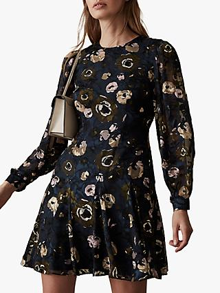 Reiss Allie Floral Burnout Dress, Multi
