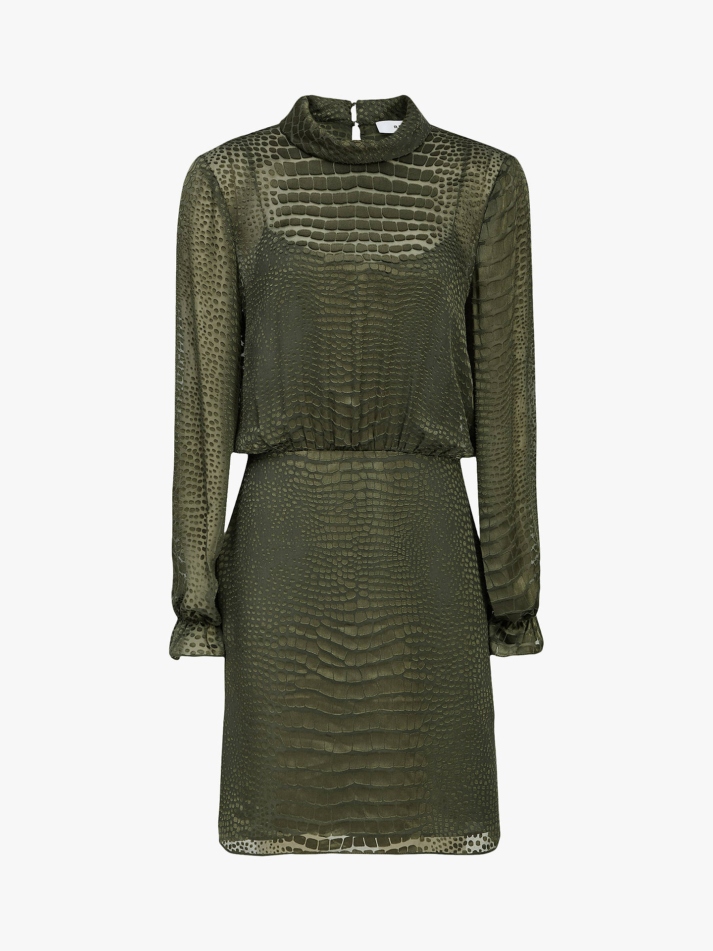 Buy Reiss Renata Snake Burnout Dress, Khaki, 6 Online at johnlewis.com
