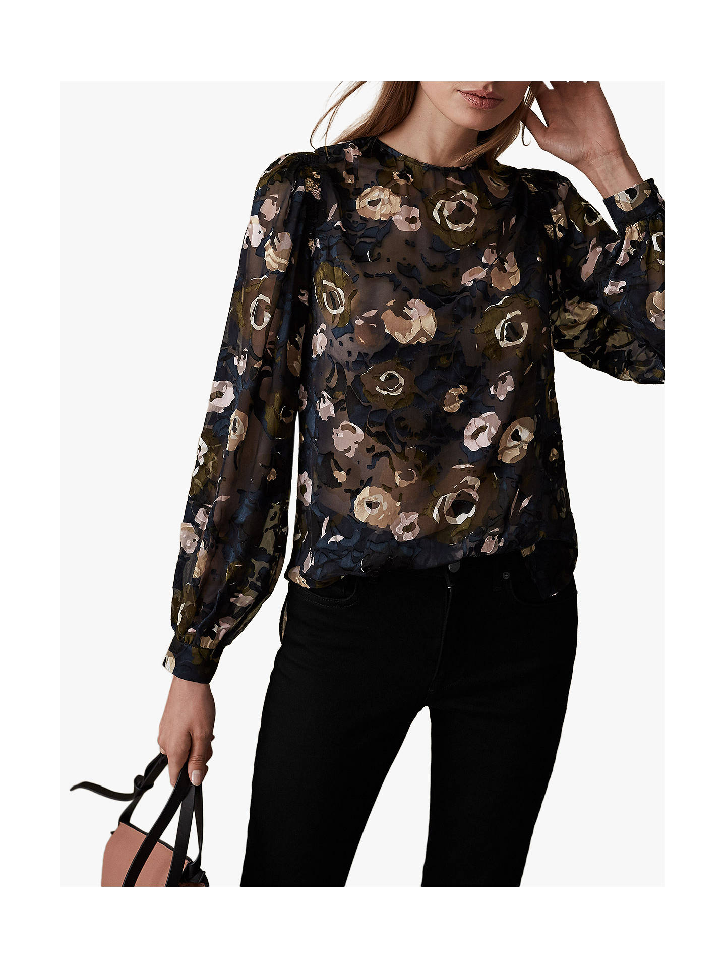 Buy Reiss Jennifer Floral Burnout Blouse, Multi, 6 Online at johnlewis.com