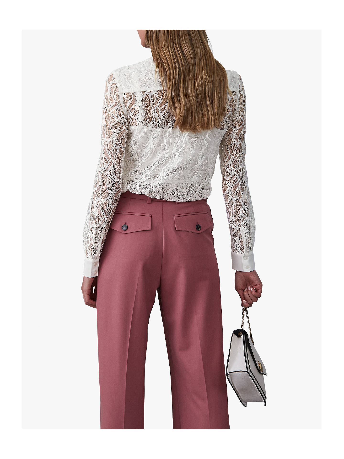 Buy Reiss Betsey Semi Sheer Lace Placket Shirt, Off White, 8 Online at johnlewis.com