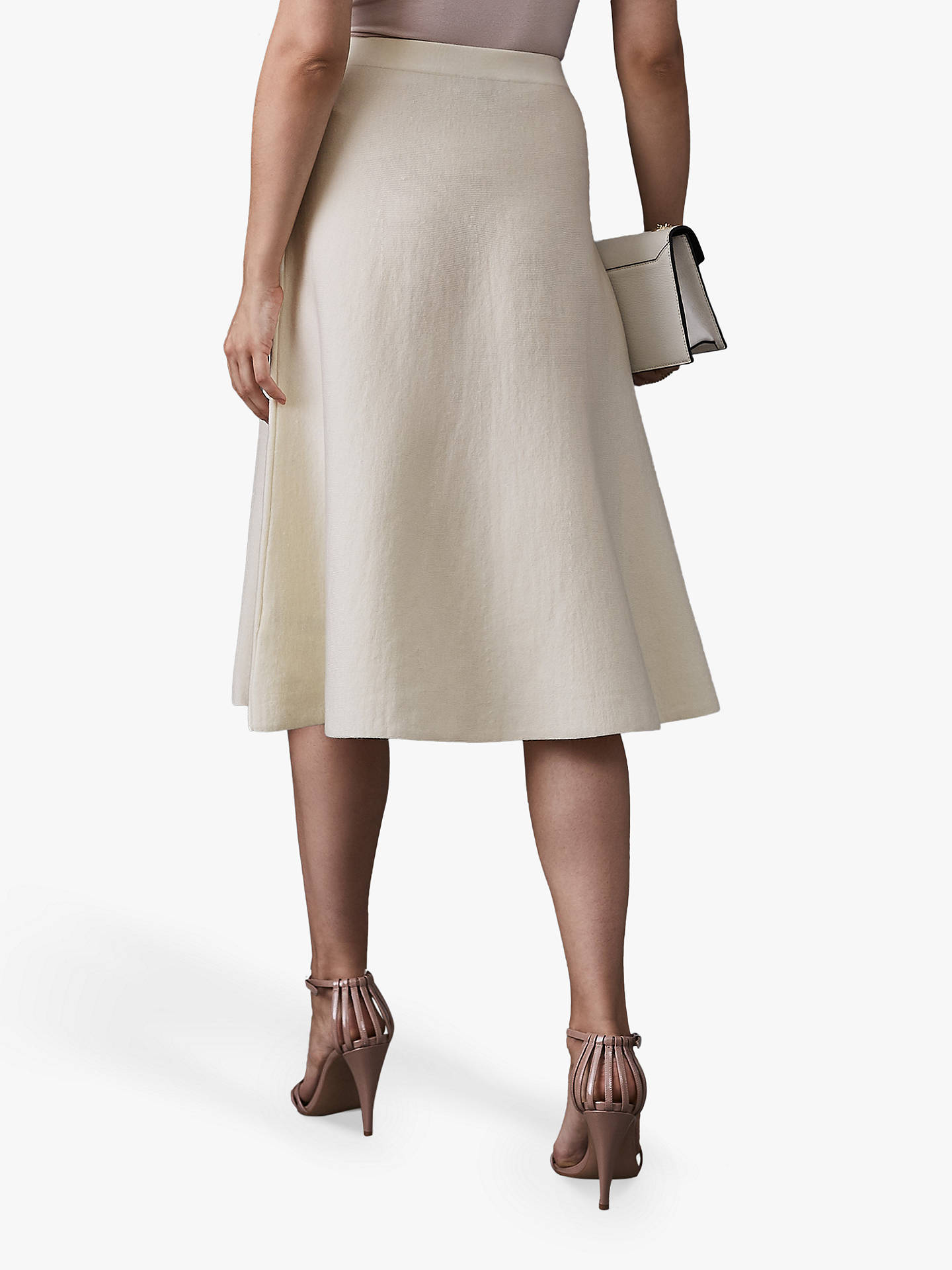 Buy Reiss Amy Fluted Hem Skirt, White, XS Online at johnlewis.com