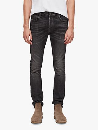 AllSaints Baden Cigarette Damaged Skinny Jeans, Washed Black