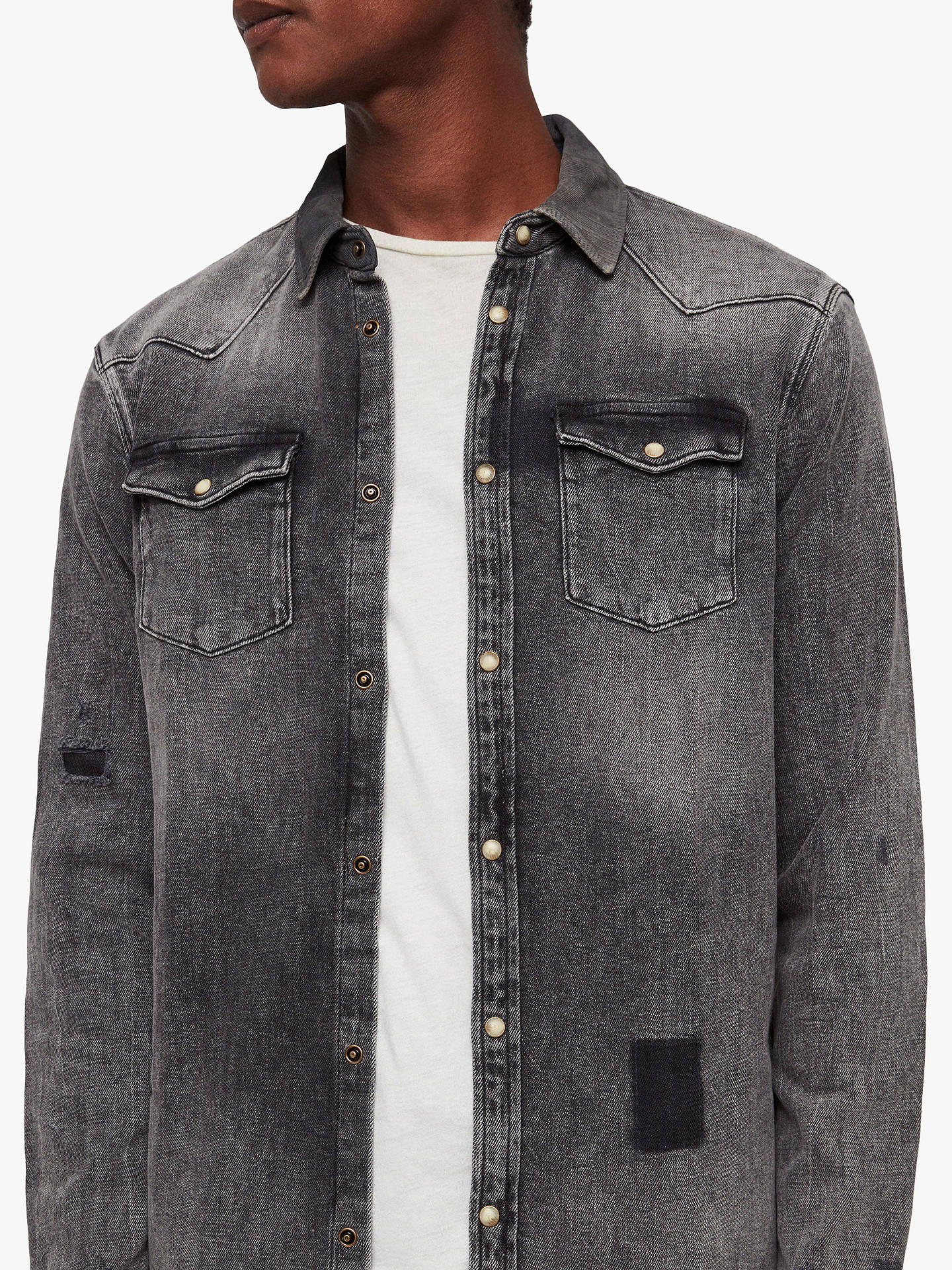 BuyAllSaints Glockeley Shirt, Indigo, L Online at johnlewis.com